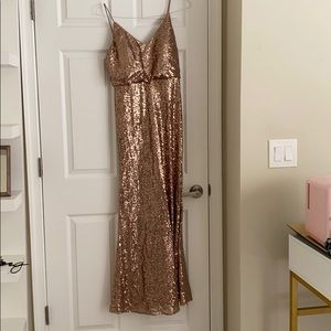 Bridesmaid /evening gown gold sequins